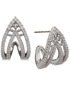 Jenny Packham Pavé Curved Open Stud Earrings