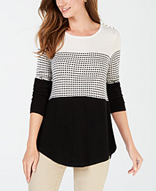Charter Club Colorblocked Pleated-Back Top, Created for Macy's