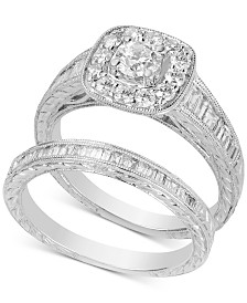 Diamond Halo Bridal Set (1-1/4 ct. t.w.) in 14k White Gold