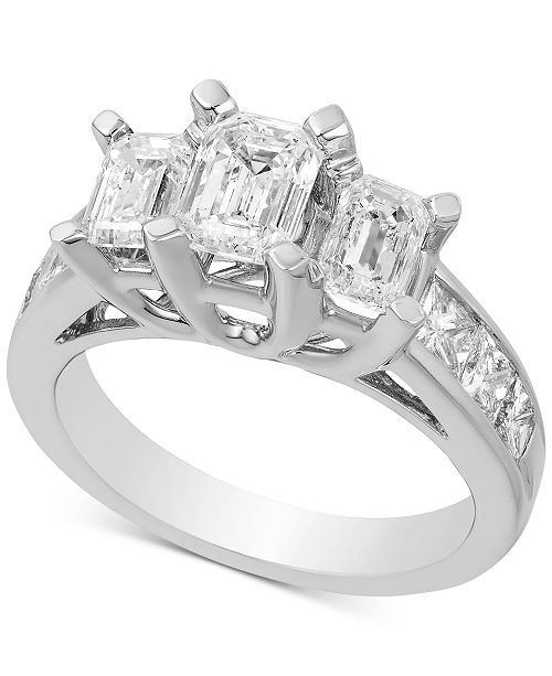 Macy's Diamond Three Stone Engagement Ring (3 ct. t.w.) in 14k White Gold