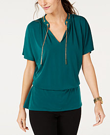 MICHAEL Michael Kors Chain-Embellished Blouson Top, In Regular & Petite Sizes