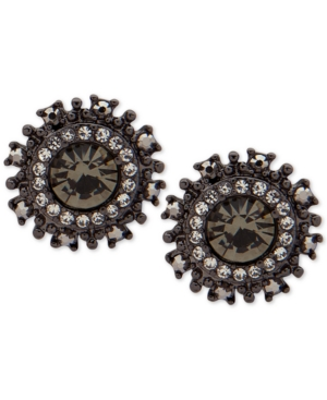 Marchesa HEMATITE-TONE STONE & CRYSTAL HALO BUTTON STUD EARRINGS