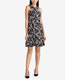 RACHEL Rachel Roy Text-Print Tie-Waist Dress, Created for Macy's