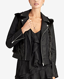 RACHEL Rachel Roy Faux-Fur-Trim Moto Jacket, Created for Macy's