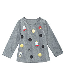 First Impressions Toddler Girls Long-Sleeve Dot-Print T-Shirt, Created for Macy's