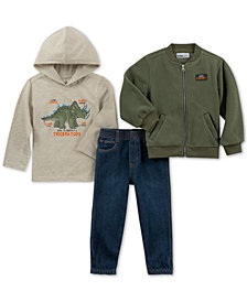 Kids Headquarters Baby Boys 3-Pc. Bomber Jacket, Dino-Print Hooded T-Shirt & Jeans Set
