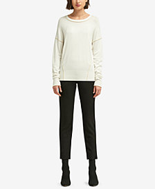 DKNY Metallic-Seam Crew-Neck Sweater, Created for Macy's