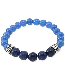 Dyed Black Lapis Lazuli (10mm) & Blue Agate (8mm) Men's Stretch Bracelet in Stainless Steel