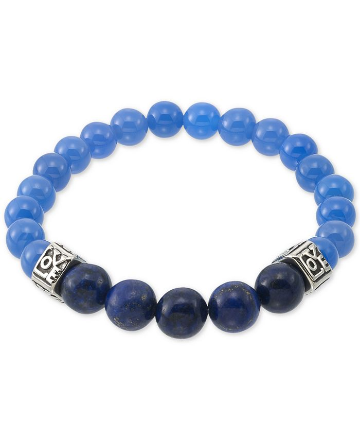 LEGACY for MEN by Simone I. Smith - Dyed Black Lapis Lazuli (10mm) & Blue Agate (10mm) Men's Stretch Bracelet in Stainless Steel