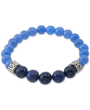 Smith Dyed Black Lapis Lazuli (10mm) & Blue Agate (8mm) Men's Stretch Bracelet in Stainless Steel