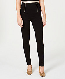 Almost Famous Juniors' Double-Zipper Leggings