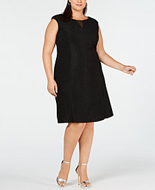 Connected Plus Size Textured A-Line Dress