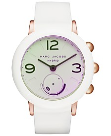 Marc Jacobs Women's Riley White Silicone Strap Hybrid Smart Watch 42mm