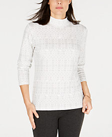 Karen Scott Petite Fair Isle Mock Turtleneck Top, Created for Macy's