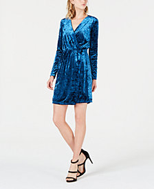 Bar III Crushed Velvet Wrap Dress, Created for Macy's