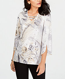 JM Collection Petite Foil-Print Tunic, Created for Macy's