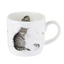 "Royal Worcester Wrendale 11 oz. Cat Mug ""Cat and Mouse"" - Set of 6"