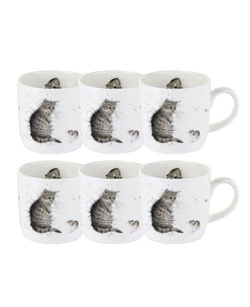 "Royal Worcester Wrendale 11 oz. Cat Mug ""Cat and Mouse"" - Set of 6"