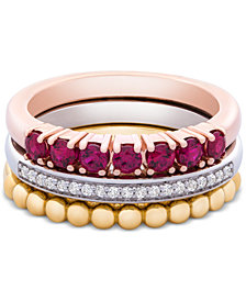 3-Pc. Set Lab-Created Ruby (5/8 ct. t.w.) & White Sapphire (1/10 ct. t.w.) Stack Rings in Sterling Silver, Gold-Plate & Rose Gold-Plate