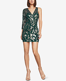 BCBGMAXAZRIA Metallic Faux-Wrap Dress