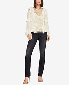 BCBGMAXAZRIA Metallic Floral Sequin Top