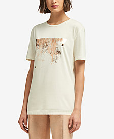 DKNY Metallic Logo T-Shirt, Created for Macy's