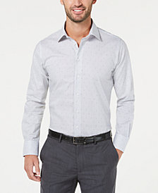 Tallia Men's Slim-Fit Non-Iron Performance Stretch Squares & Dots Dress Shirt