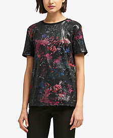 DKNY Printed Sequinned Top, Created for Macy's