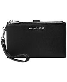 Michael Kors Adele Double-Zip Pebble Leather Phone Wristlet