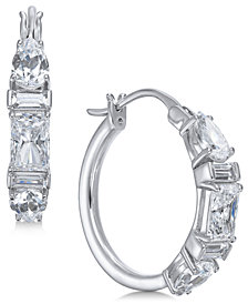 Danori Silver-Tone Multi-Shape Stone Hoop Earrings, Created for Macy's