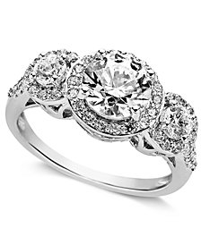 Arabella Sterling Silver Ring, Swarovski Zirconia Three Stone Ring (3-1/3 ct. t.w.)