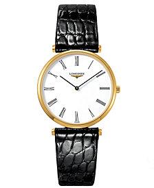 Longines Men's Swiss La Grande Classique Black Alligator Leather Strap Watch 33mm L47092112