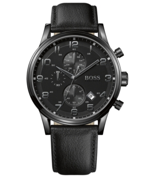 Boss Hugo Boss Watch, Men's Chronograph Black Leather Strap 44mm 1512567