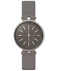 Skagen Women's Signatur T-Bar Gray Leather Strap Hybrid Smart Watch 36mm