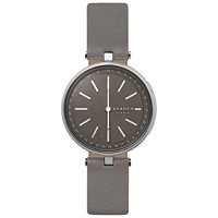 Macys deals on Skagen Womens Signatur Gray Leather Strap Hybrid Smart Watch