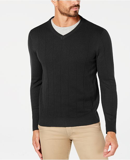 Club Room Men's Cotton Textured V-Neck Sweater, Created for Macy's