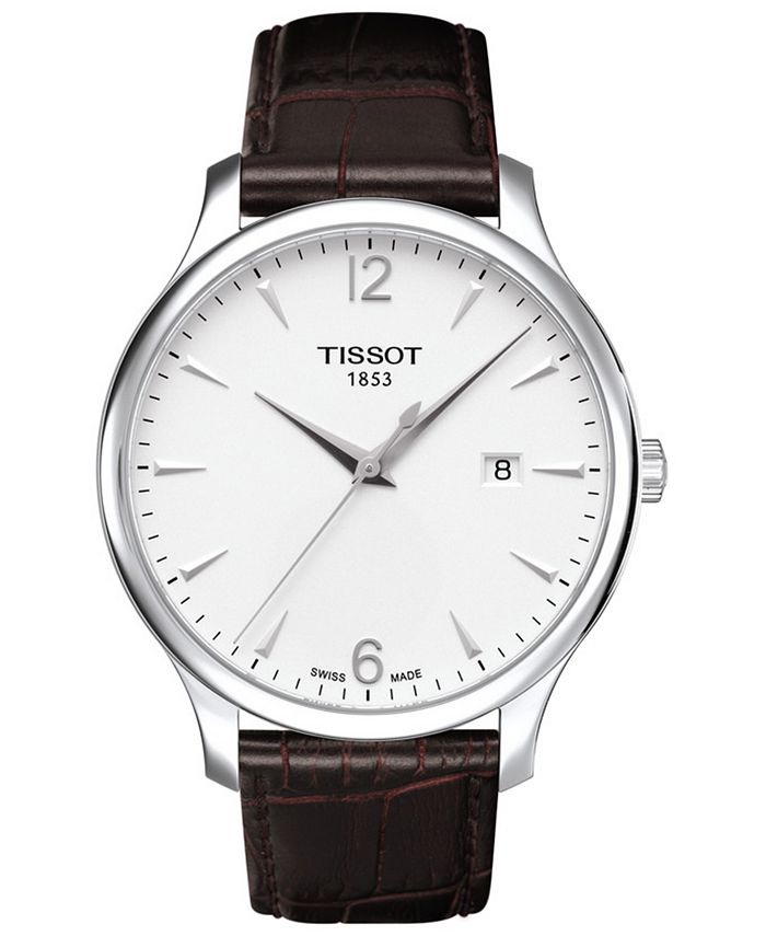 Tissot - Men's Swiss Tradition Brown Leather Strap Watch 42mm