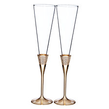 Waterford Lismore Diamond Gold Toasting Flute Pair