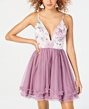 76ed91671c1fd Dear Moon Juniors' Embroidered Ruffled Fit & Flare Dress