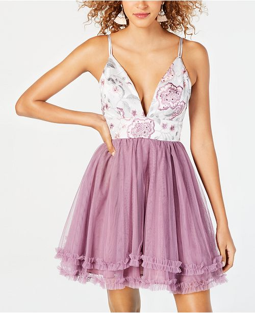 4cbed12c7bd Dear Moon Juniors  Embroidered Ruffled Fit   Flare Dress   Reviews ...