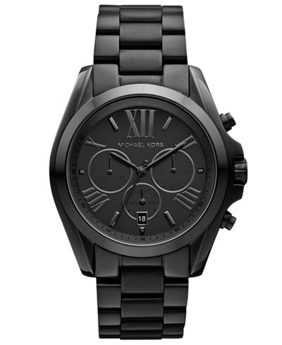 Michael Kors Women's Chronograph Bradshaw Black Ion Plated Stainless Steel Bracelet Watch 43mm MK5550