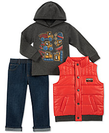 Kids Headquarters Little Boys 3-Pc. Construction Trucks Hoodie, Vest & Pants Set