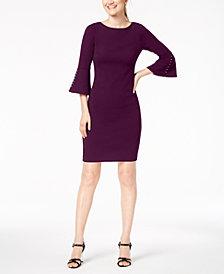 Calvin Klein Faux-Pearl Bell-Sleeve Dress