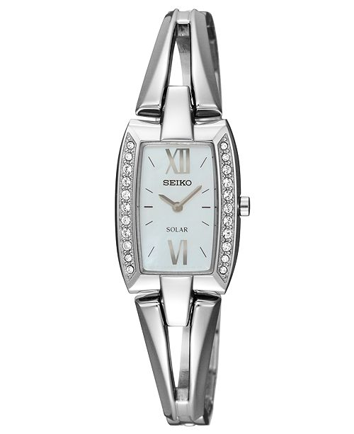 Seiko Watch, Women's Solar Stainless Steel Bangle Bracelet 19mm SUP083