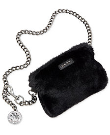 DKNY Faux-Fur Chain Fanny Pack, Created for Macy's