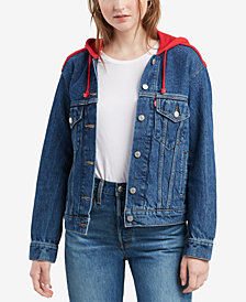 Levi's® Cotton Ex-Boyfriend Hooded Trucker Jacket