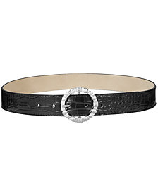 Steve Madden Studded-Buckle Croc-Embossed Belt