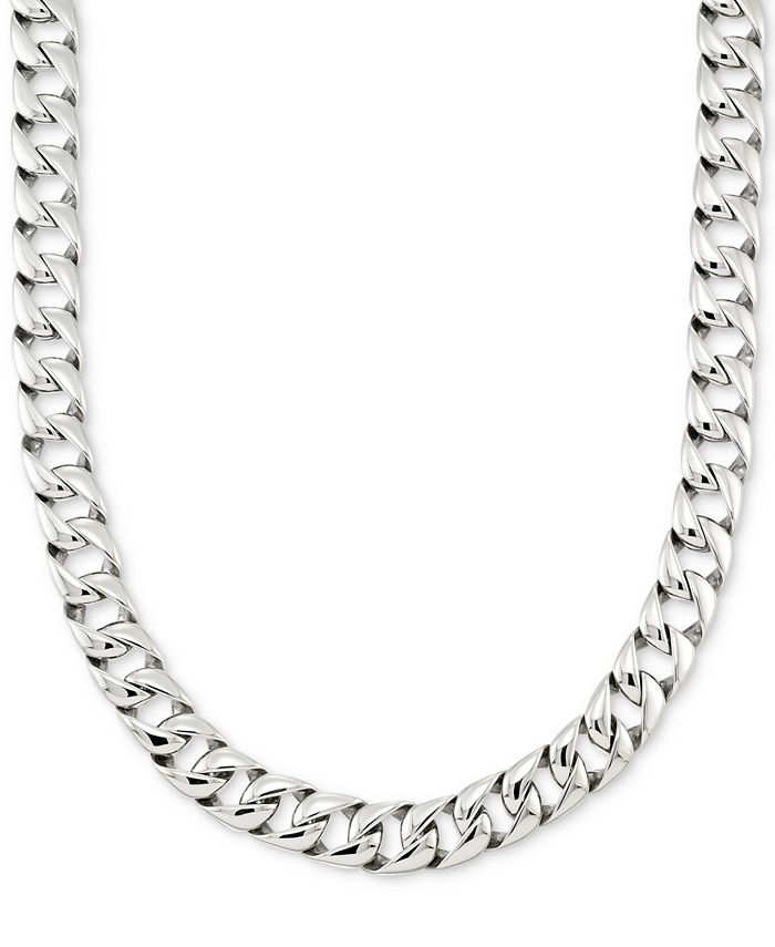 """LEGACY for MEN by Simone I. Smith - Large Curb Link 24"""" (15 mm thick) Chain Necklace in Stainless Steel"""
