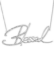 "Swarovski Crystal ""Blessed"" Pendant Necklace in Platinum over Sterling Silver, 18"" + 4"" extender (Also Available in 14K Gold over Sterling Silver)"