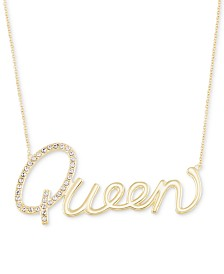 """Simone I. Smith Swarovski Crystal """"Queen"""" Pendant Necklace in 18k Gold over Sterling Silver, 18"""" + 4"""" extender"""